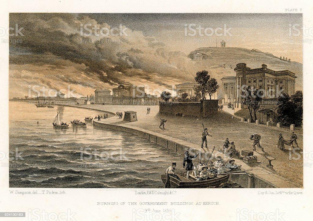 Crimean War - Burning of the Government Buildings at Kertch vector art illustration