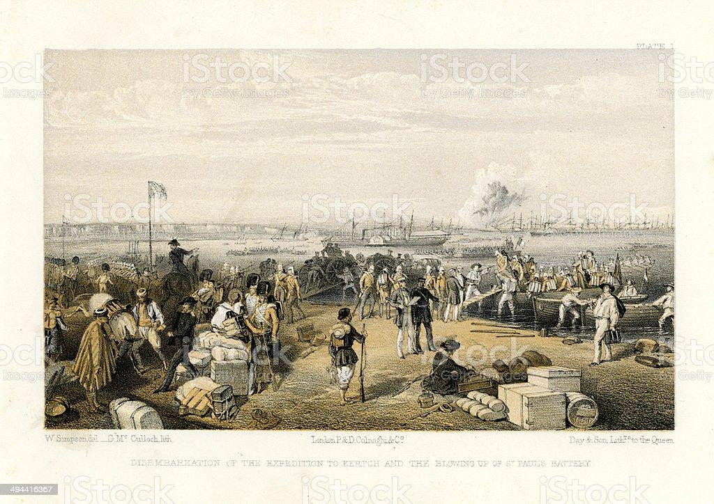 Crimean War -  Disembarkation to Kertch vector art illustration