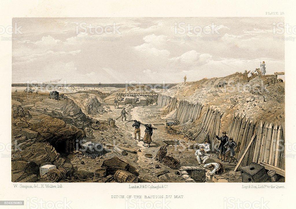 Crimean War - Ditch of the Bastion Du Mat vector art illustration