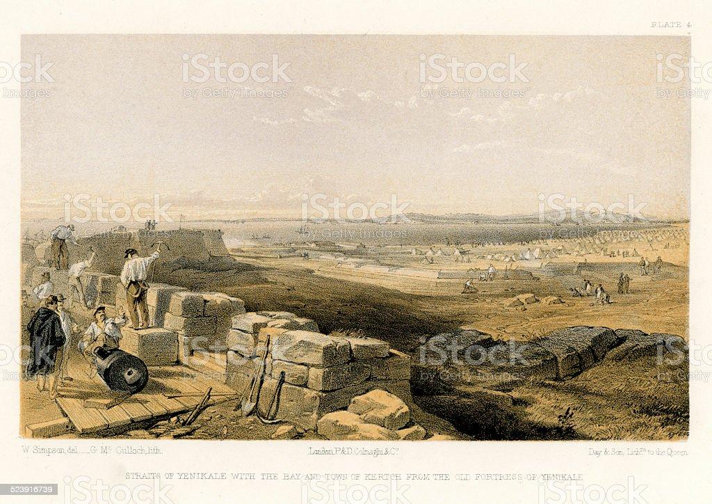 Crimean War - Fortress of Yenikale vector art illustration