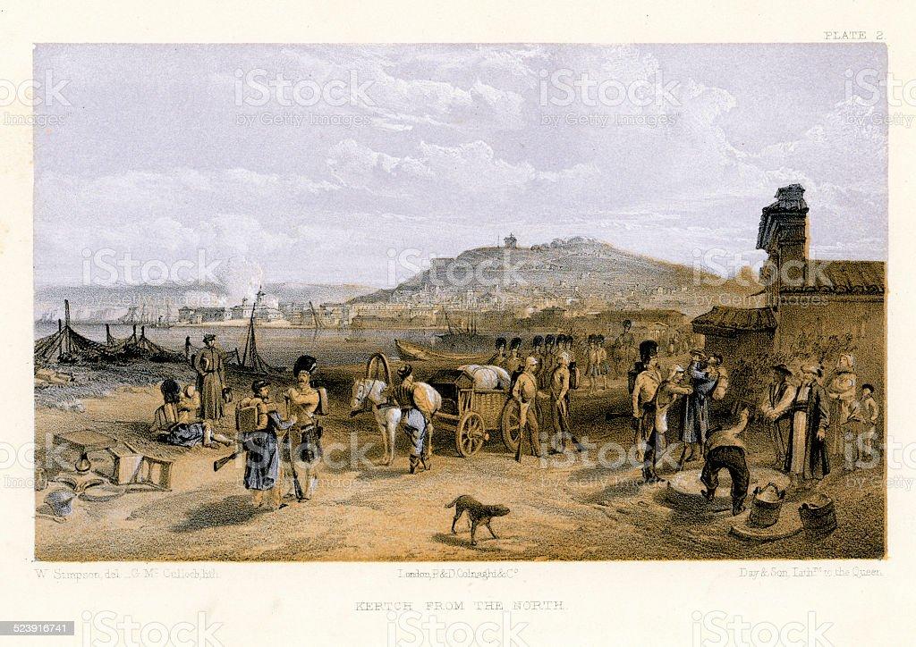 Crimean War - Kertch from the North vector art illustration