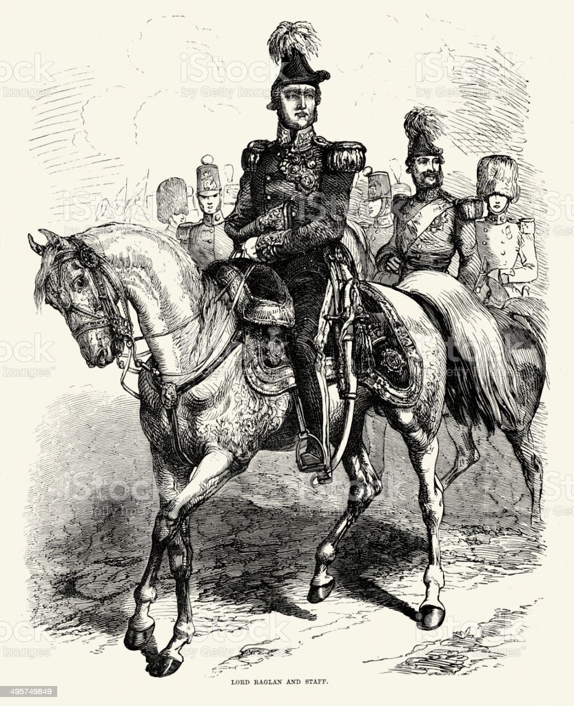 Crimean War - Lord Raglan and Staff vector art illustration