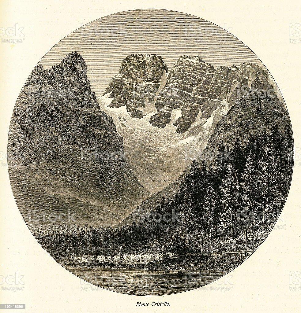 Cristallo Mountain, Italy (antique wood engraving) royalty-free stock vector art