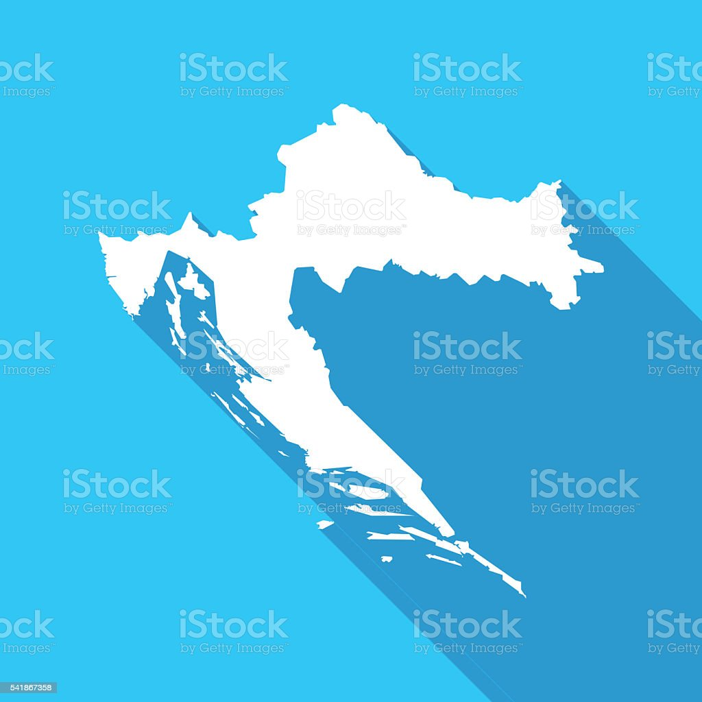 Croatia long shadow map in white on a blue background vector art illustration