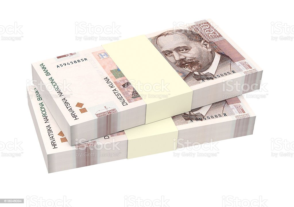 Croatian kuna bills isolated on white background. vector art illustration