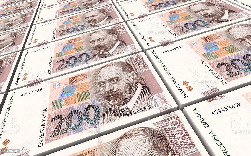 Croatian kuna bills stacks background. vector art illustration