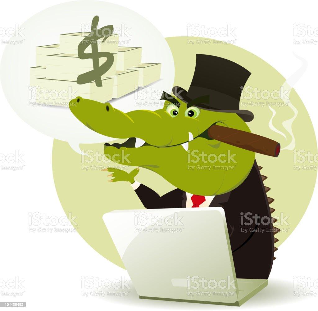 Crocodile Bankster Crook royalty-free stock vector art