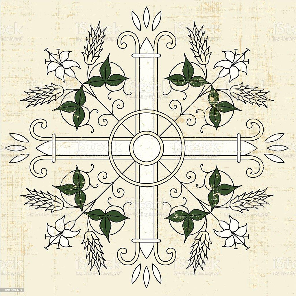 cross design on papyrus vector art illustration