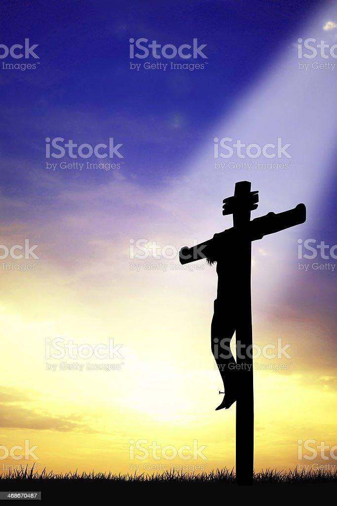 Cross in the light vector art illustration