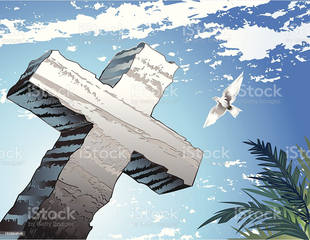 Cross of Salvation Dove and Palms vector art illustration