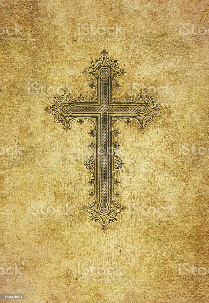 cross on old paper vector art illustration