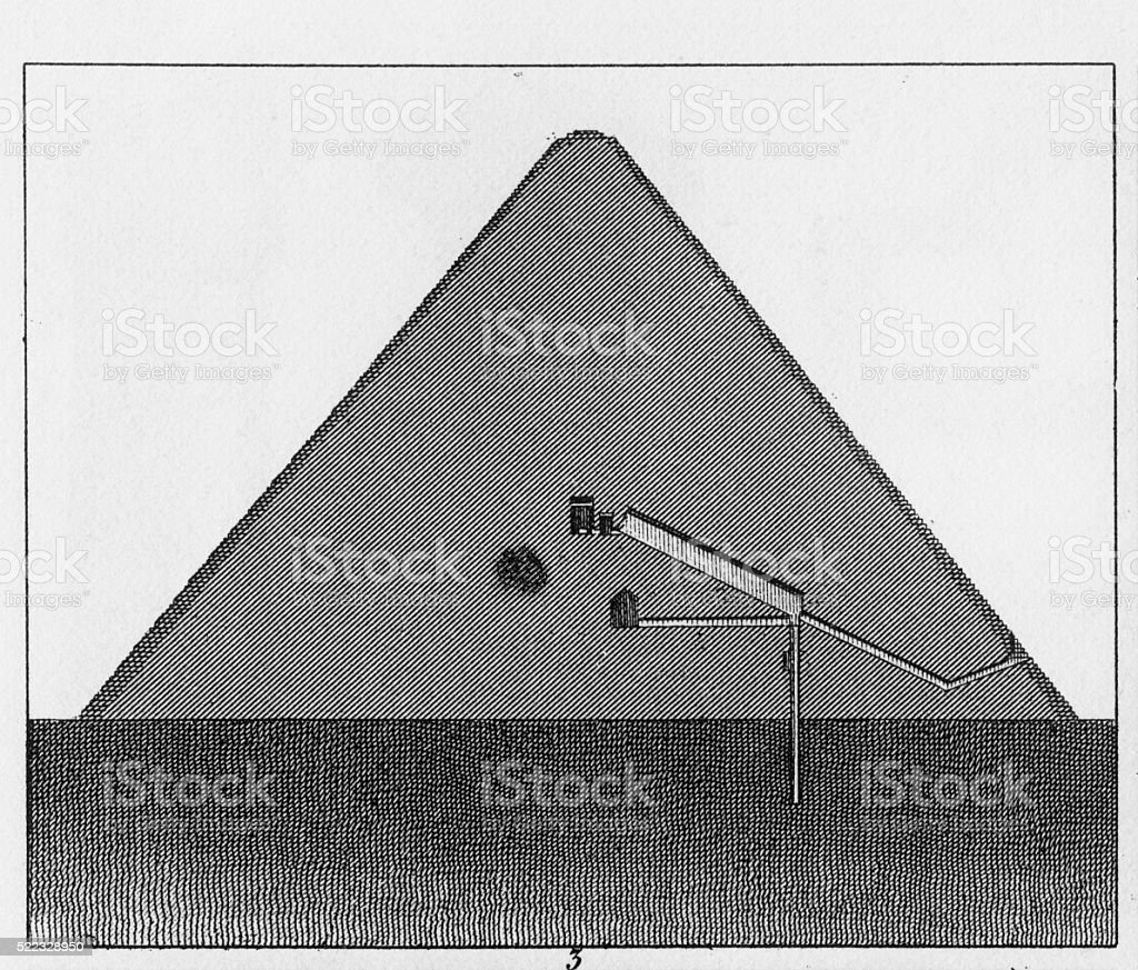 Cross Section of a Pyramid at Memphis Engraving vector art illustration