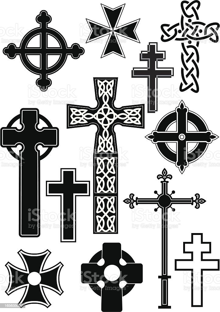Cross silhouettes royalty-free stock vector art