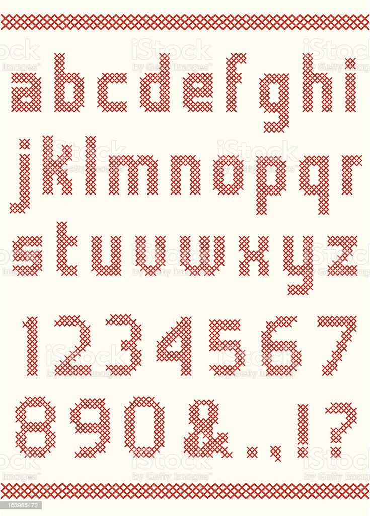 Cross stitch alphabet vector art illustration