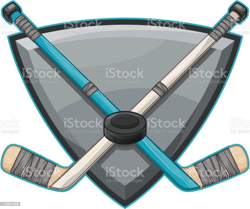 Crossed Hockey Sticks royalty-free stock vector art