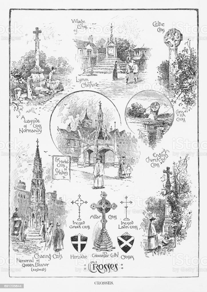 Crosses from Various Religions, Engraving, 1892 vector art illustration