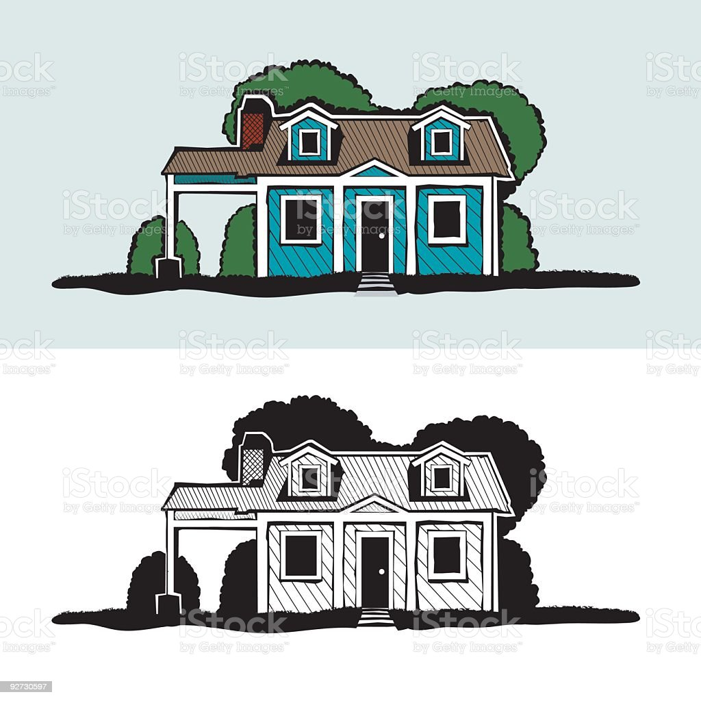 crosshatch house illustration vector art illustration