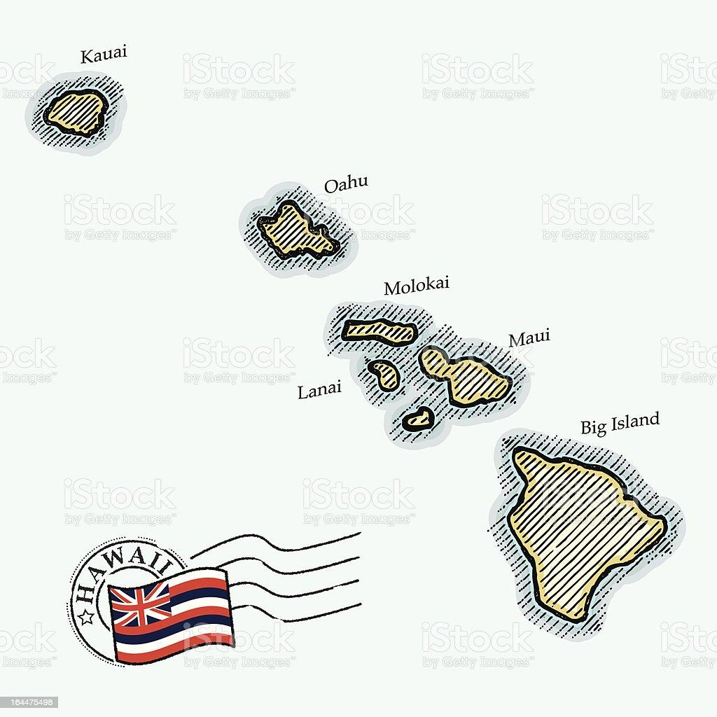 Crosshatch map of Hawaii vector art illustration