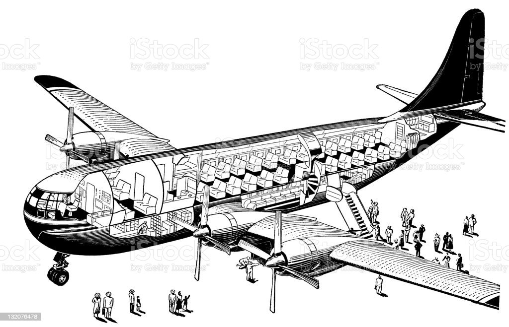 Cross-Section of Airplane with Passengers on Ground royalty-free stock vector art