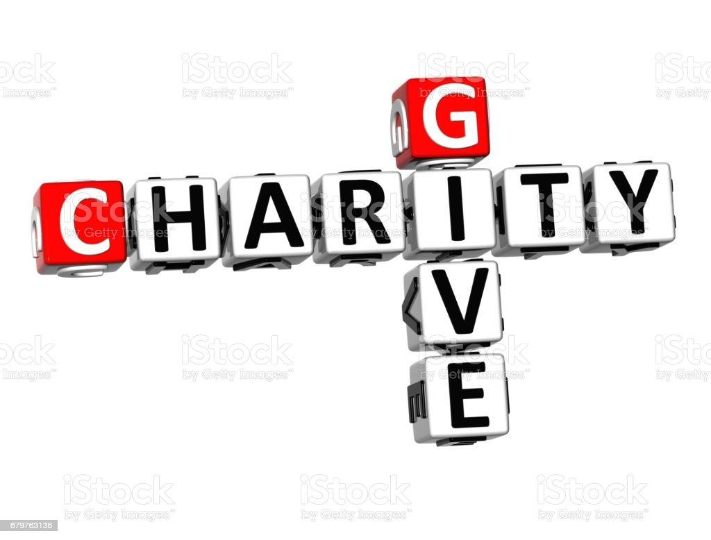 3D Crossword Give Charity on white background vector art illustration