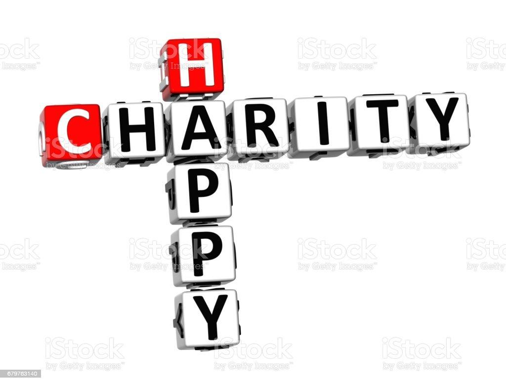 3D Crossword Happy Charity on white background vector art illustration