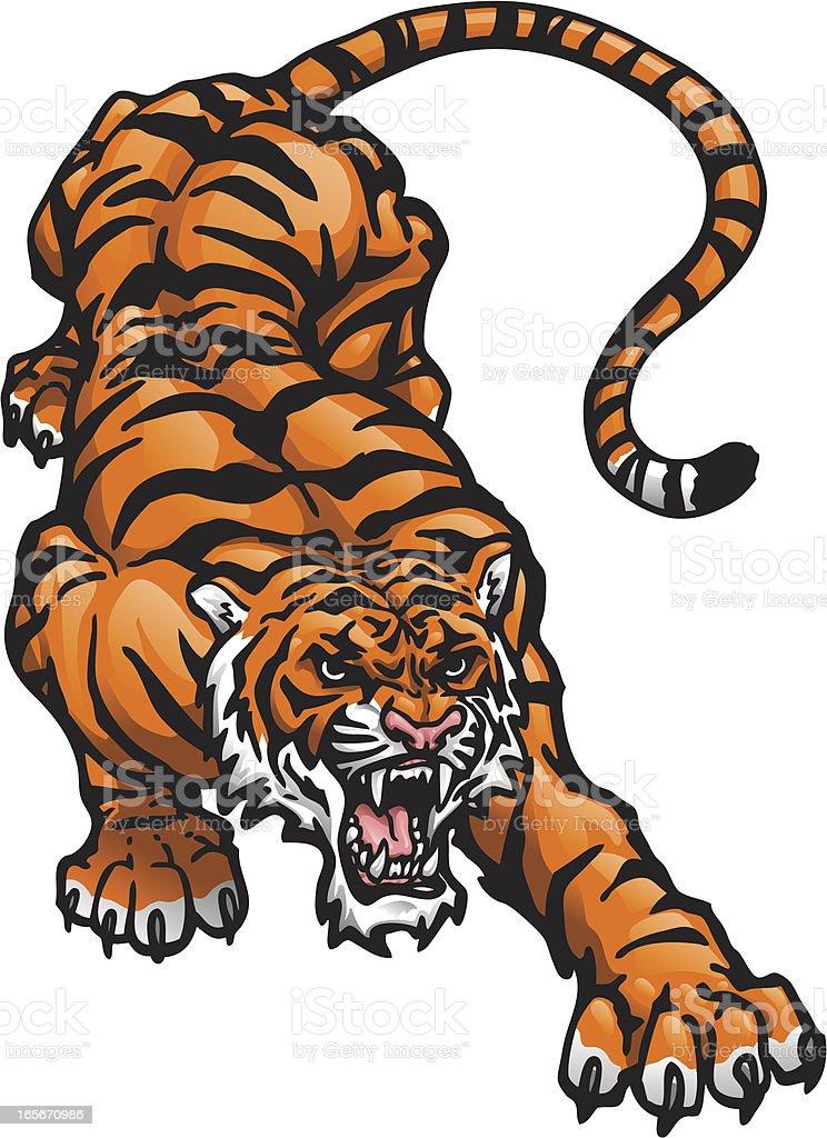 Crouching Tiger royalty-free stock vector art