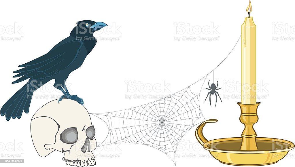 Crow on cranium royalty-free stock vector art