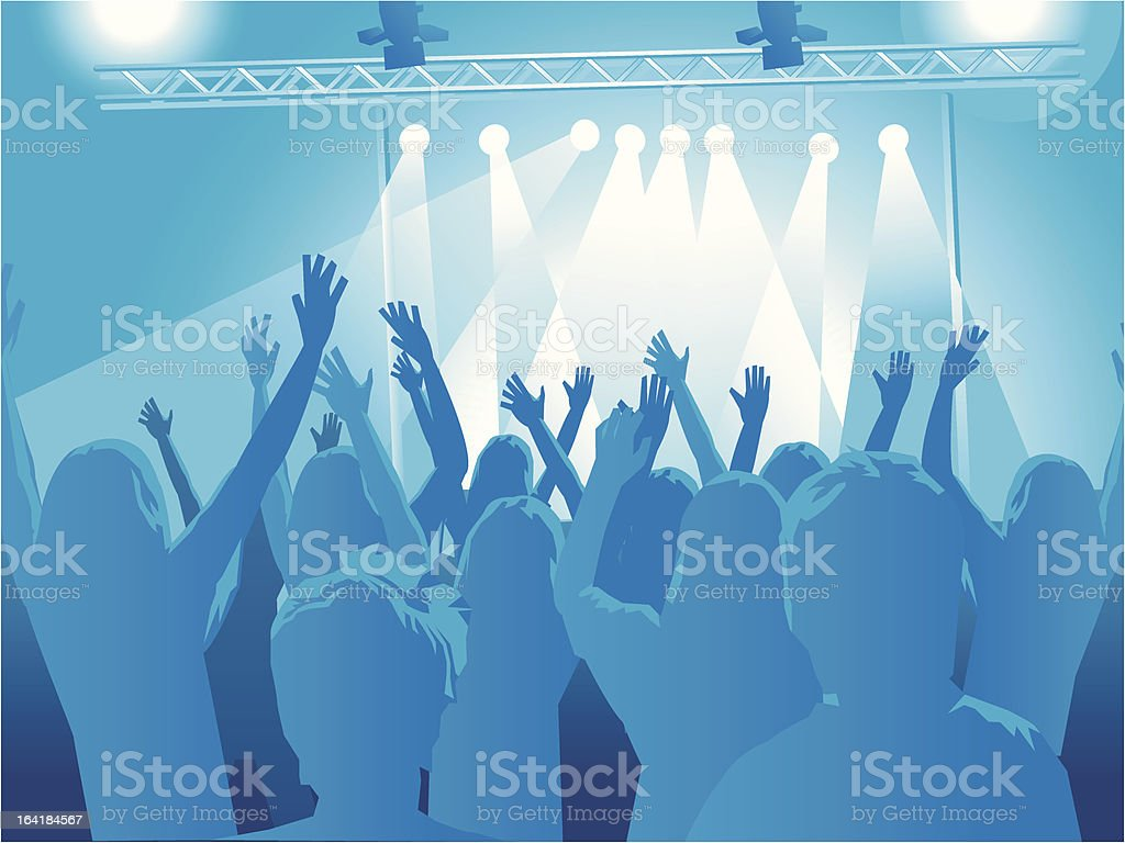 crowd at a rock concert vector art illustration