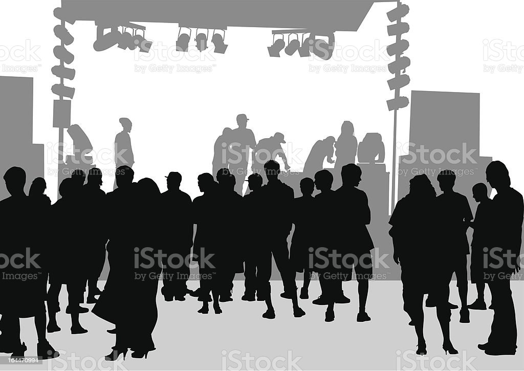 Crowd in front of the stage royalty-free stock vector art