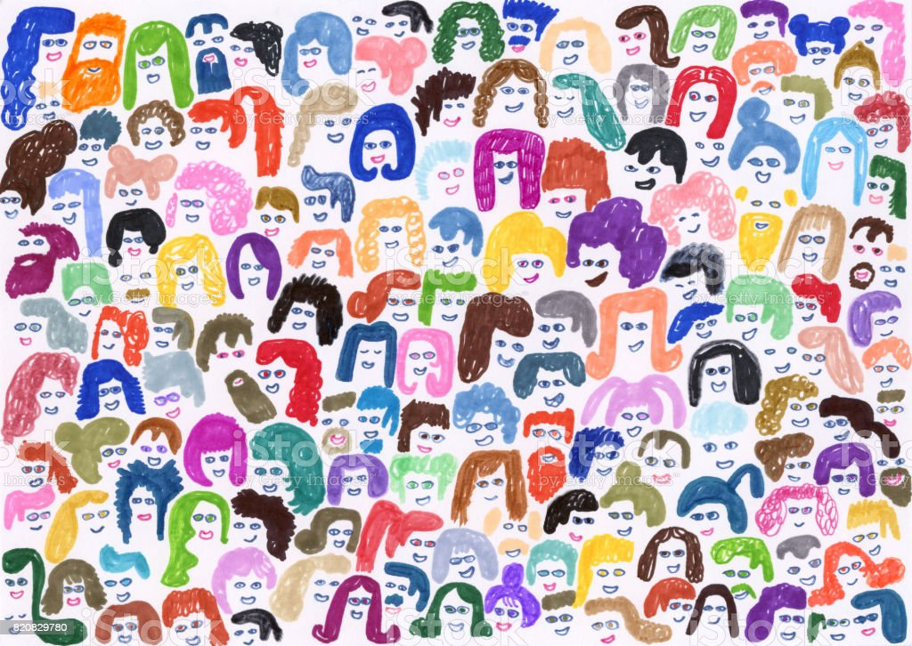 Crowd of people background pattern vector art illustration