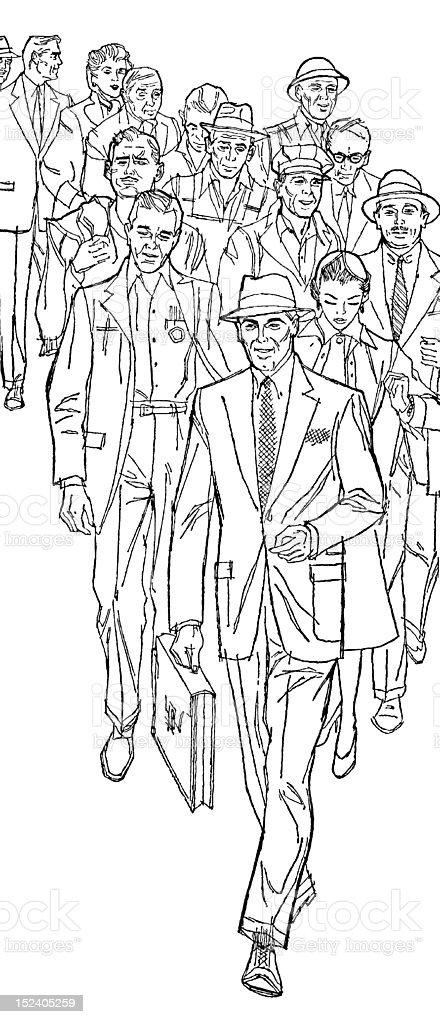 Crowd of People Walking royalty-free stock vector art