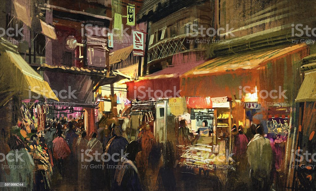 crowd of people walking in the market at night vector art illustration
