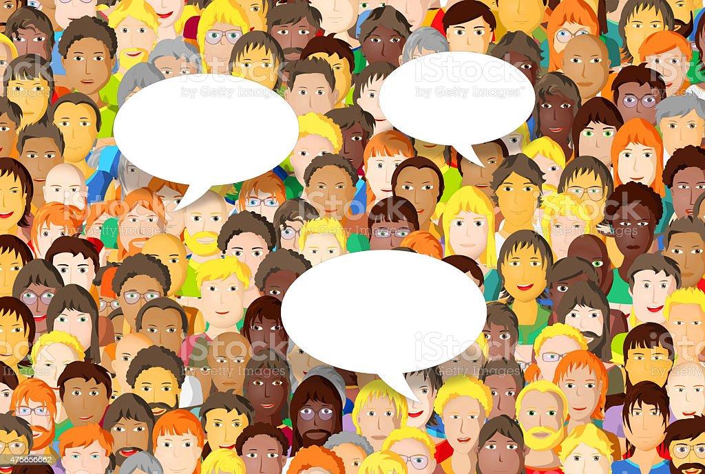 Crowd of people with speech bubbles, cartoon design vector art illustration