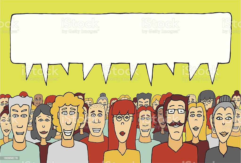 Crowd speaking together vector art illustration