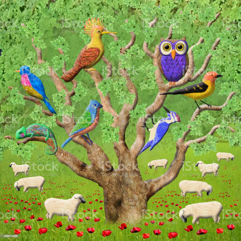 Crowded Tree Whimsical Painting vector art illustration