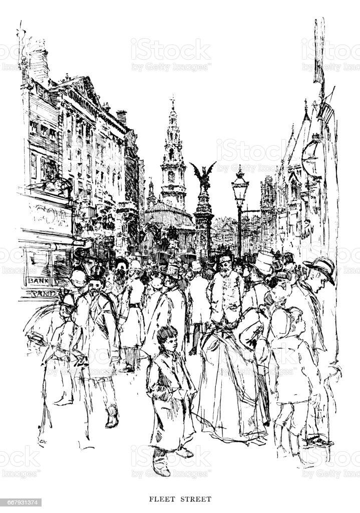 Crowds in Fleet Street, London (Victorian illustration) vector art illustration