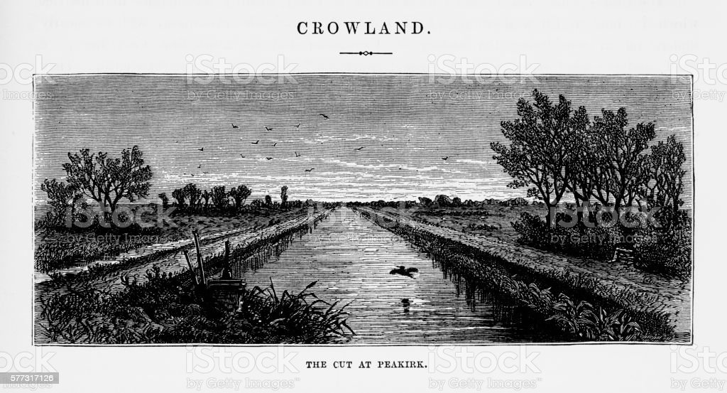 Crowland, The Cut at Peakirk Victorian Engraving vector art illustration