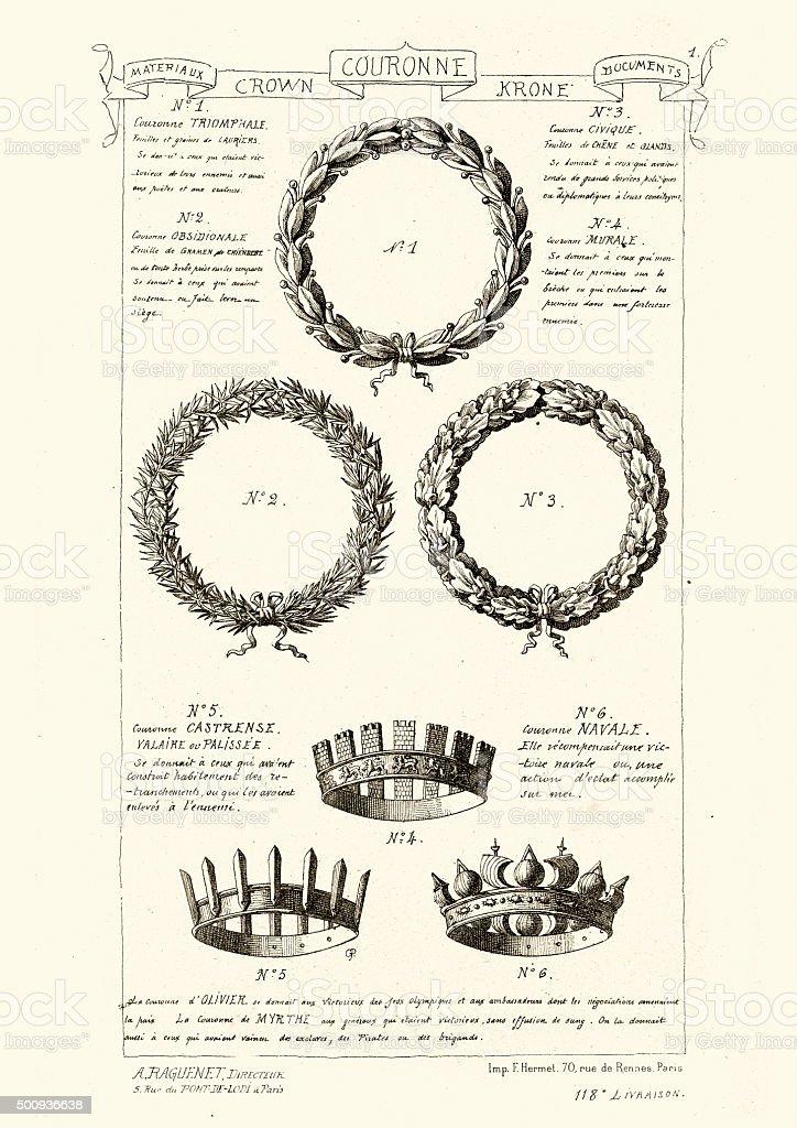 Crown and wreath symbols vector art illustration