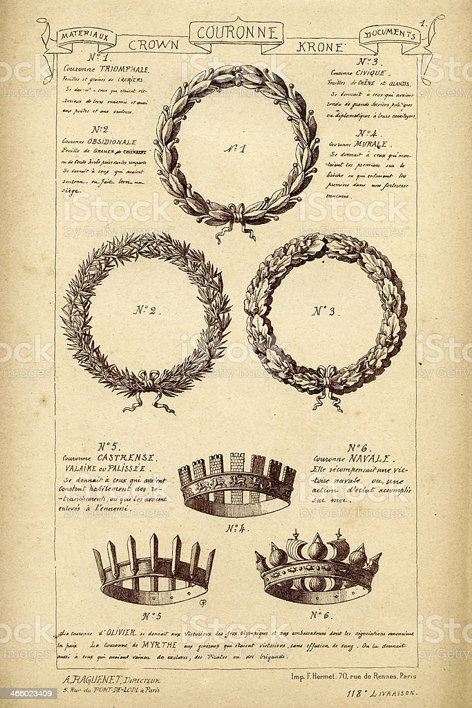 Crown and wreath sysmbols vector art illustration