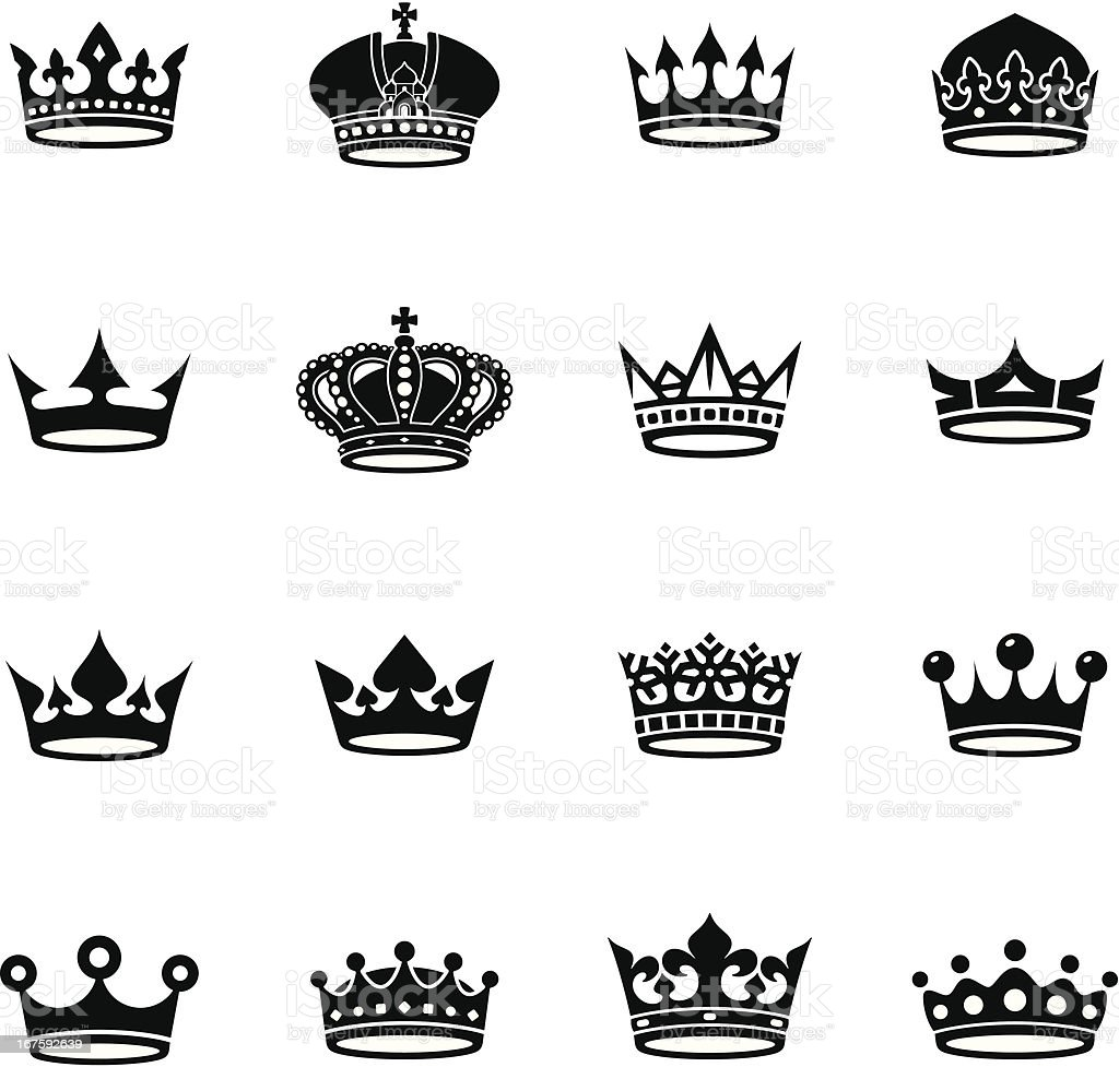 Crown Black And White Collection stock vector art