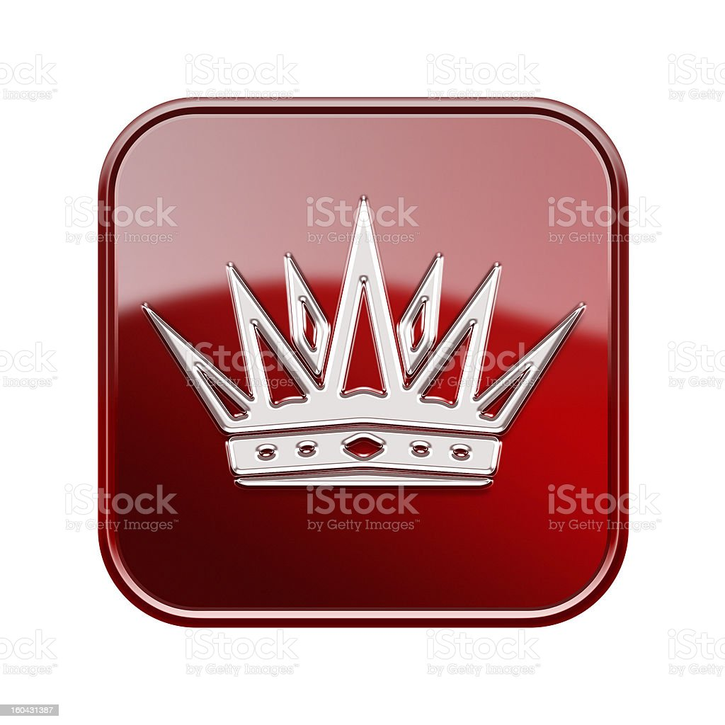 Crown icon glossy red, isolated on white background royalty-free stock vector art