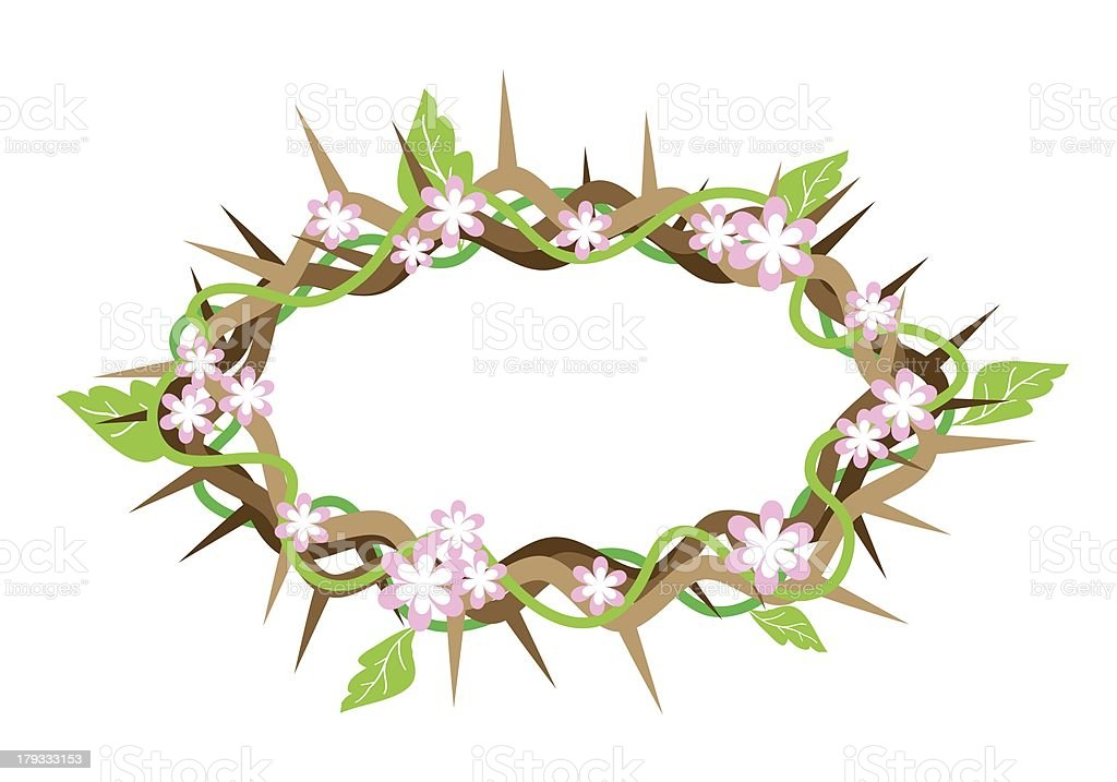 Crown of Thorns with Fresh Leaves royalty-free stock vector art