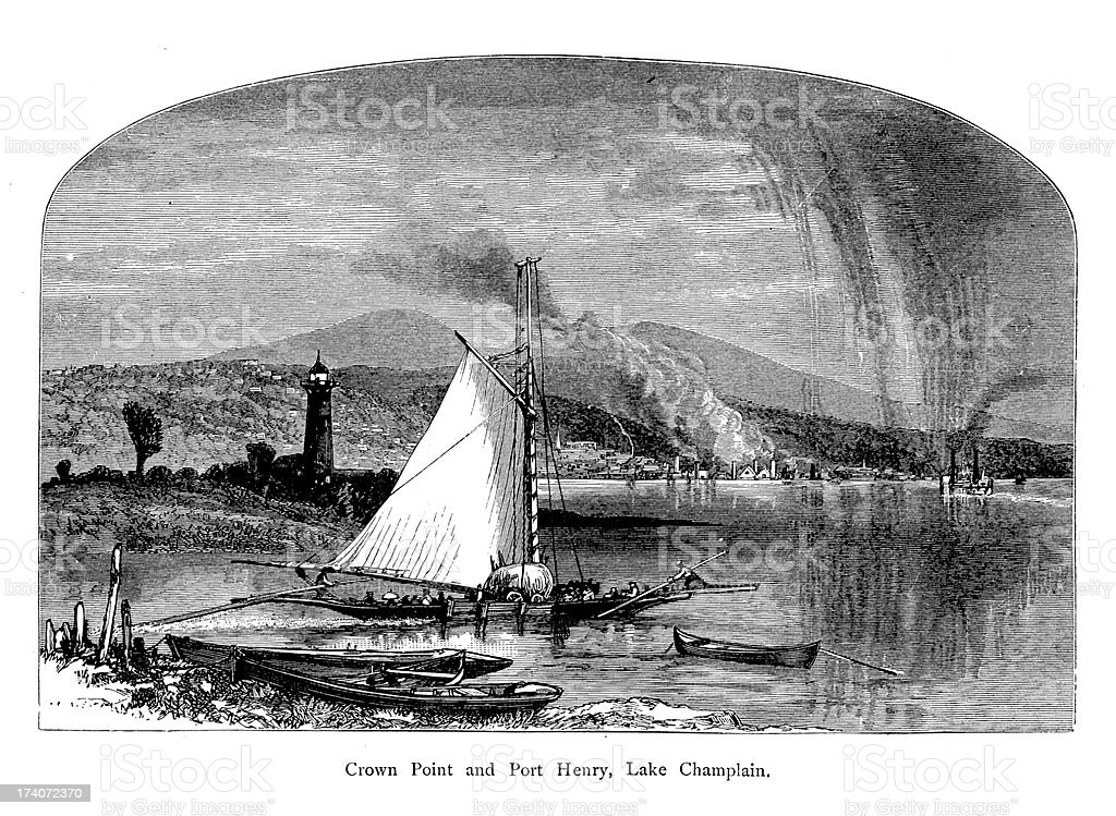 Crown Point and Port Henry, New York | Historic Illustrations royalty-free stock vector art