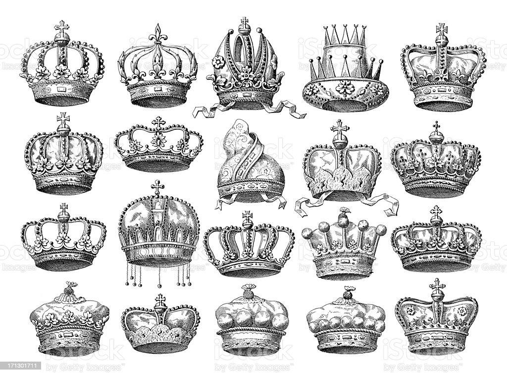 Crown Set | Historic Symbols of Monarchy and Rank vector art illustration