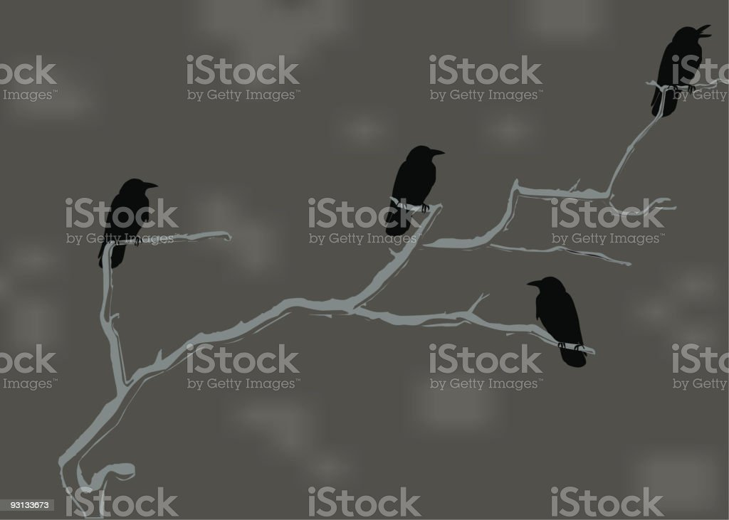 Crows vector art illustration