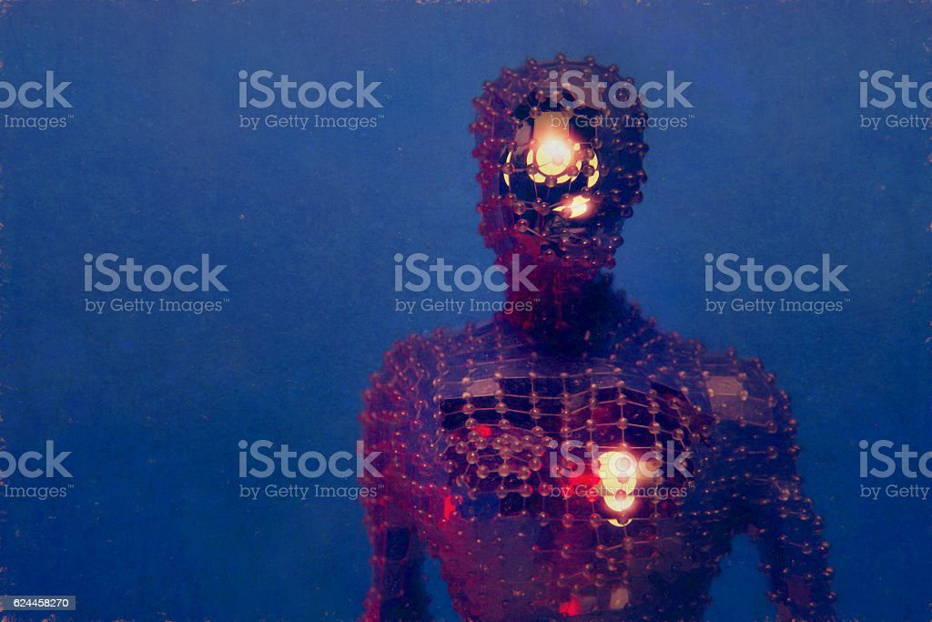 Crude ugly futuristic cyborg vector art illustration