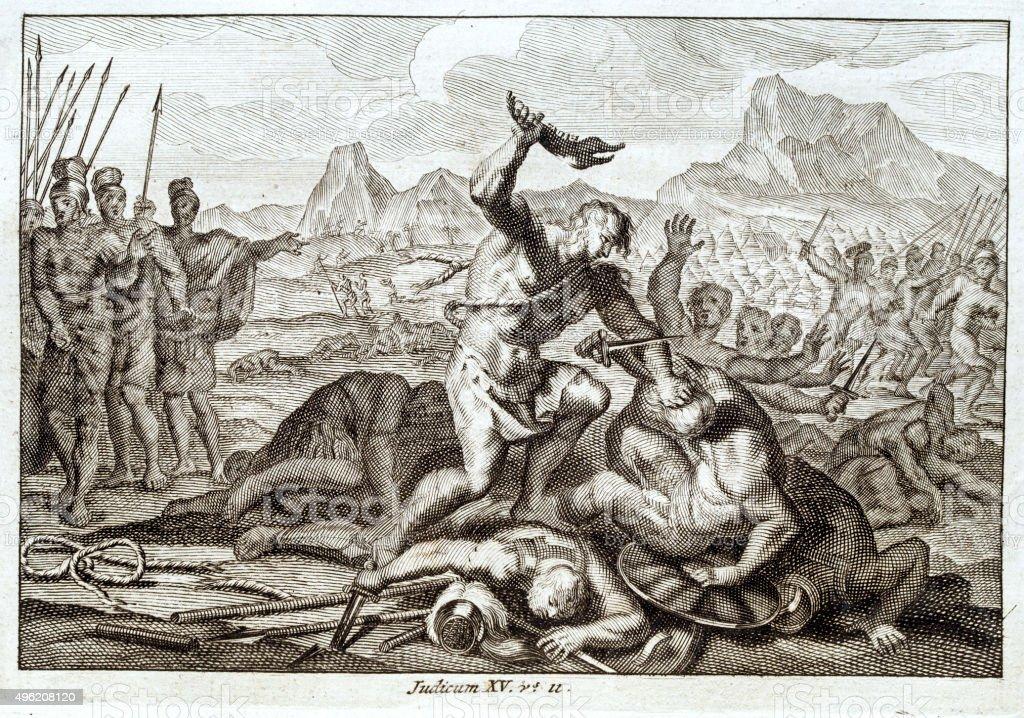 Cruel scene from Judicum 15, Bible 1700 vector art illustration