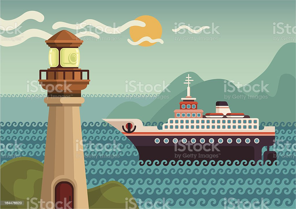 Cruise ship and lighthouse. vector art illustration