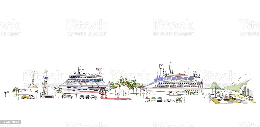 Cruise ships on pier vector art illustration