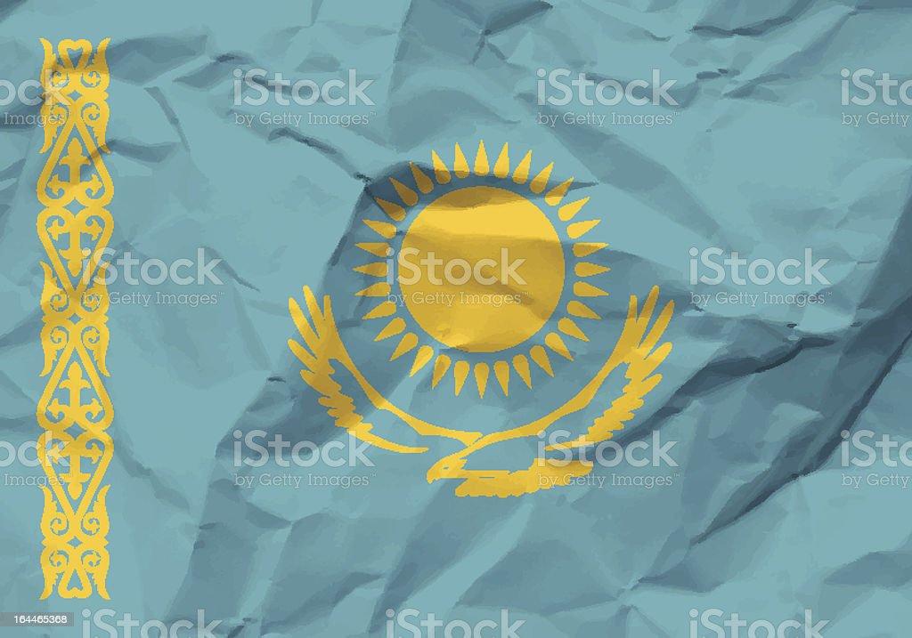 crumpled paper Kazakhstan flag royalty-free stock vector art